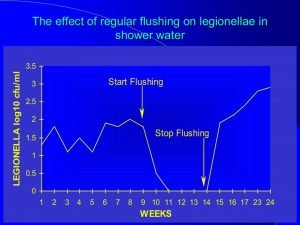 Legionella control with flushing